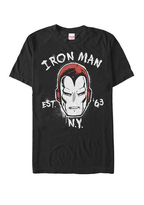 Retro Iron Man Graffiti Portrait Short Sleeve T-Shirt