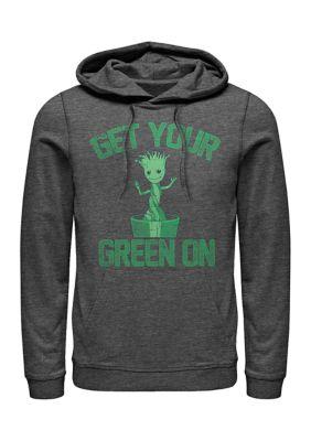 Marvel Mens Marvel Groot Green Graphic Fleece Hoodie