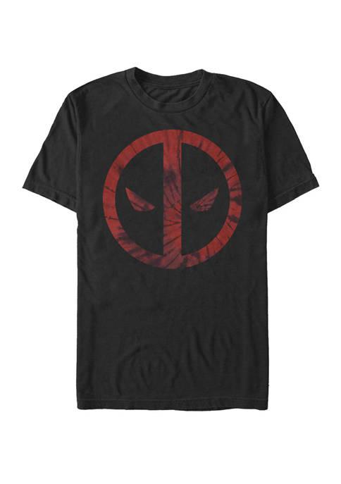 Deadpool Tie Dye Face Symbol Short Sleeve T-Shirt