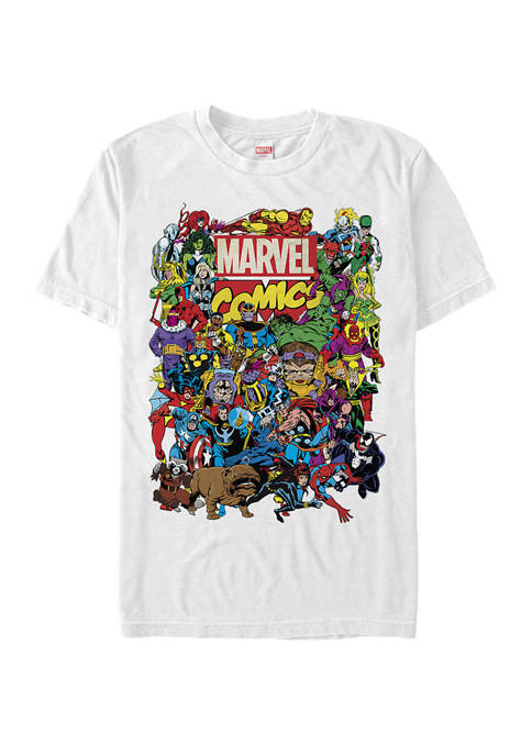 Comics Heroes Group Shot Short Sleeve Graphic T-Shirt