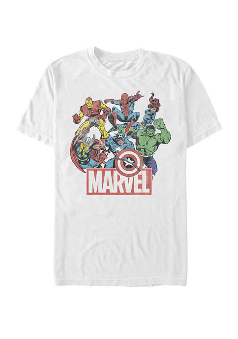 The Avengers Team Retro Comic Short Sleeve Graphic T-Shirt