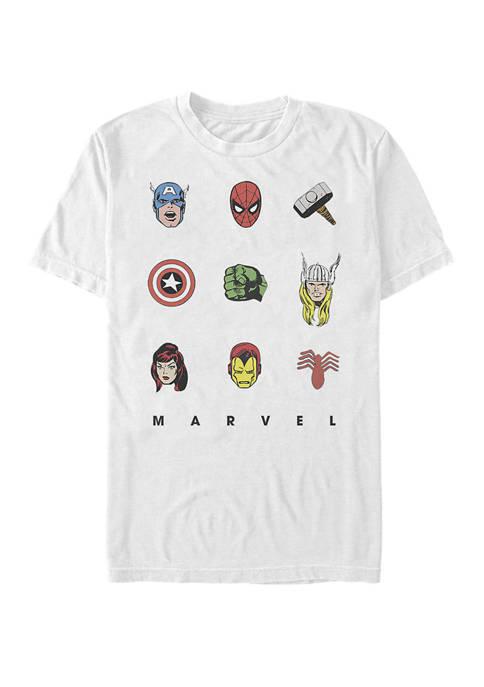 Retro Avengers Iconic Symbols Short Sleeve T-Shirt