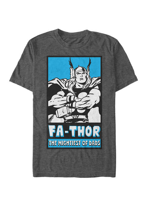 FaThor Mightiest of Dads Retro Poster Short Sleeve Graphic T-Shirt