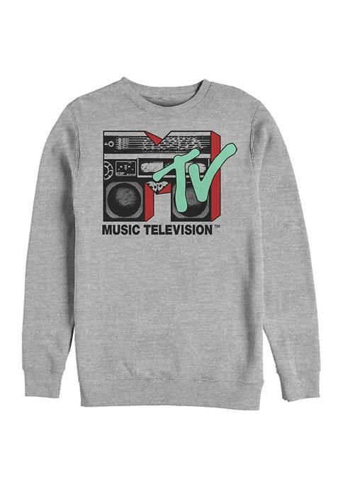 MTV Boom Box Logo Graphic Crew Fleece Sweatshirt
