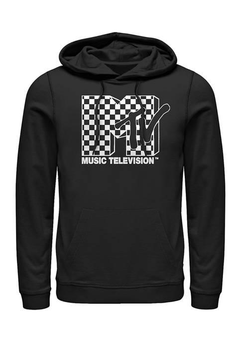 MTV Bright-Checkered--Logo Graphic Fleece Hoodie
