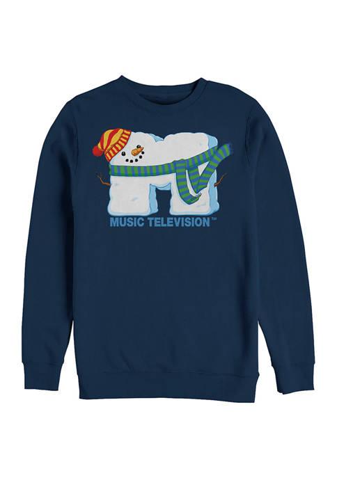 MTV SnowMan Graphic Crew Fleece Sweatshirt
