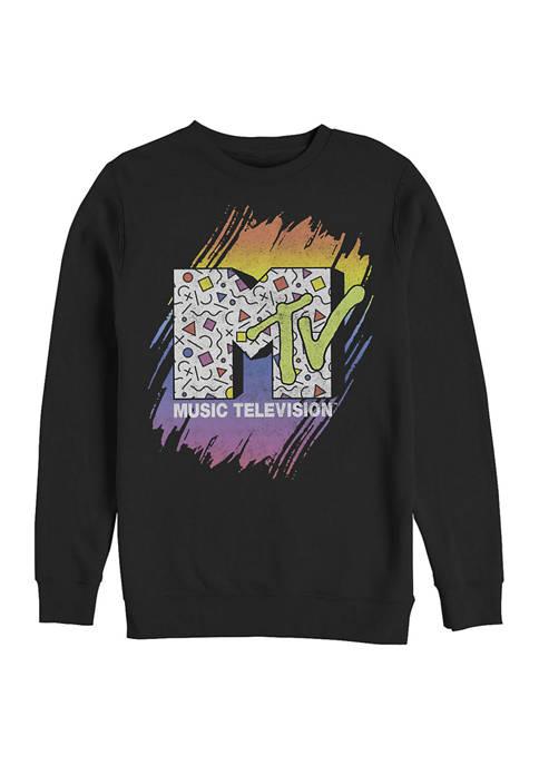 MTV Gradient Brush Graphic Crew Fleece Sweatshirt