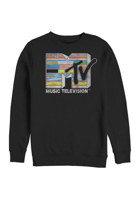 MTV Flag Graphic Crew Fleece Sweatshirt