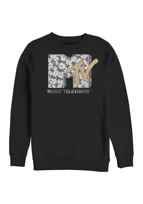 MTV Daisies Graphic Crew Fleece Sweatshirt