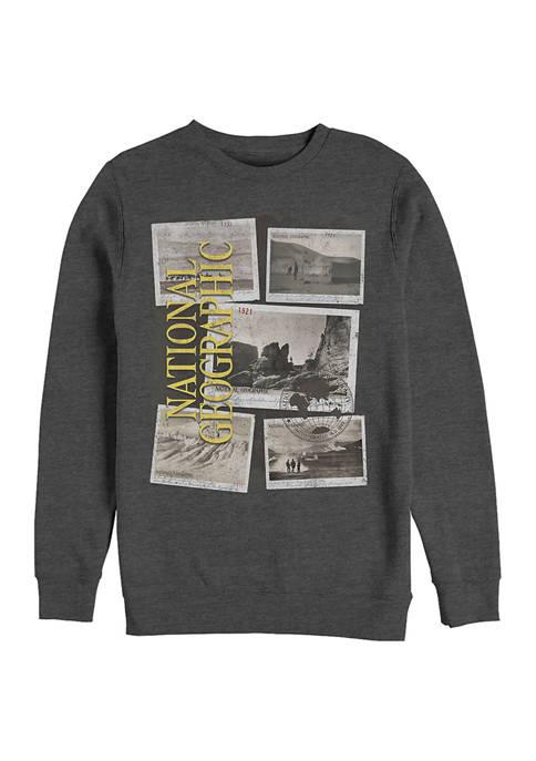 Postcard Jumble Graphic Crew Fleece Sweatshirt