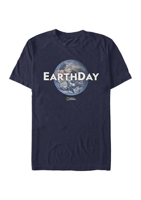 EarthDay Over Globe Graphic Short Sleeve T-Shirt