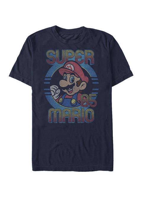 Super Mario Retro Circle Vintage Short Sleeve T-Shirt