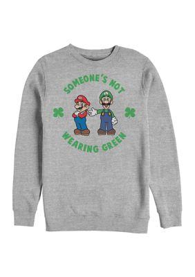 Mens Nintendo Wear Green Graphic Crew Fleece Sweatshirt