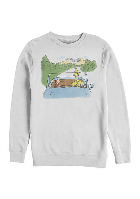 Curious George Road Trip Graphic Crew Fleece Sweatshirt