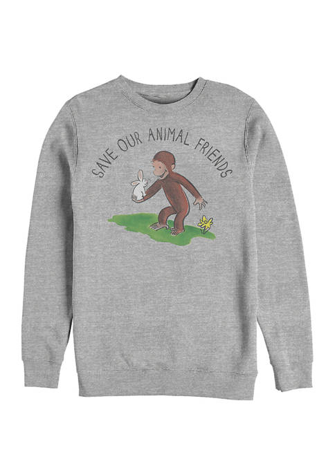 Save Our Friends Graphic Crew Fleece Sweatshirt