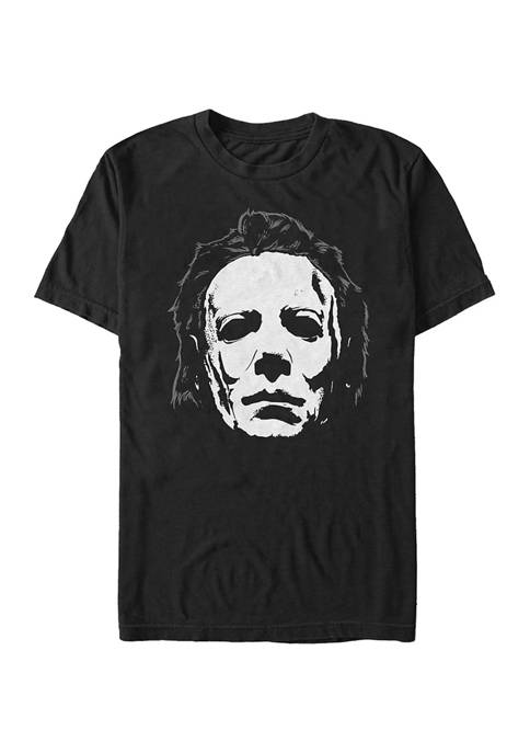 Big & Tall Halloween Michael Meyers Mask Close-Up Graphic Short Sleeve T-Shirt