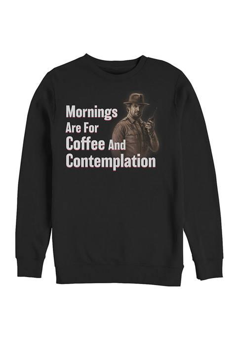 Coffee and Contemplation Crew Neck Fleece Graphic Sweatshirt