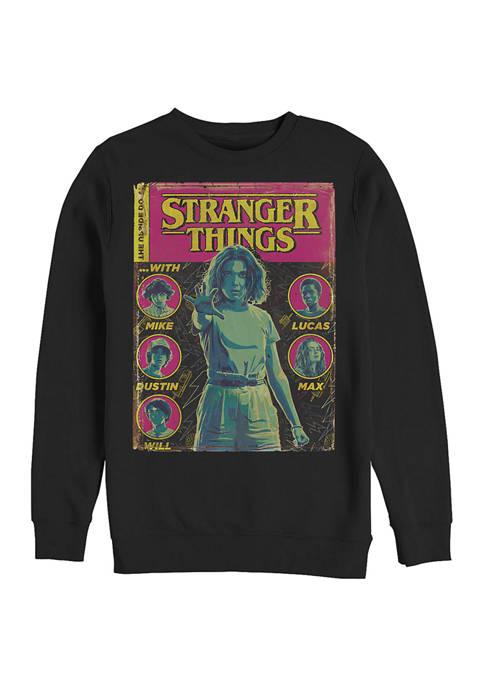 Stranger Things Comic Cover Graphic Crew Fleece Sweatshirt