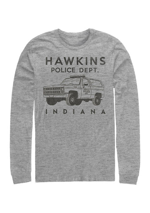 Hawkins Police Auto Long Sleeve Crew Graphic T-shirt