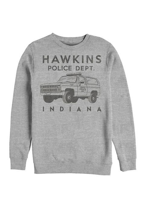 Hawkins Police Auto Crew Fleece Graphic  Sweatshirt