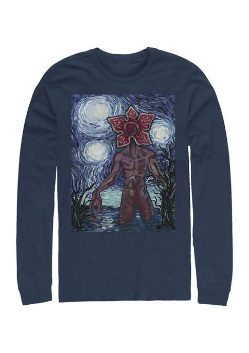 Starry Demogorgon Long Sleeve Crew Neck Graphic T-Shirt