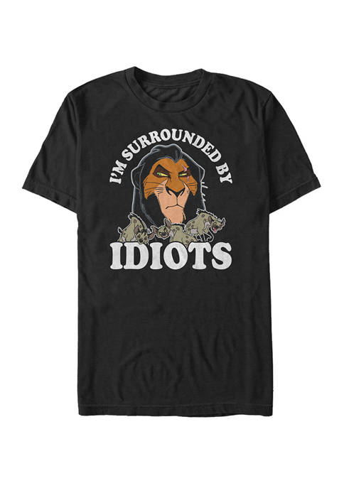 Big & Tall Lion King Scar Im Surrounded By Idiots Short Sleeve Graphic T-Shirt