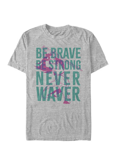 Be Brave Be Strong Never Waiver Overlay Graphic T-Shirt