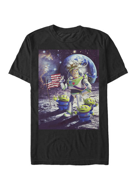 Toy Story Buzz and Aliens On The Moon Photo Short Sleeve T-Shirt