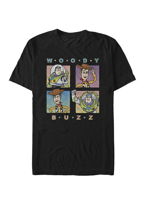 Toy Story Woody and Buzz Panel Grid Short Sleeve T-Shirt