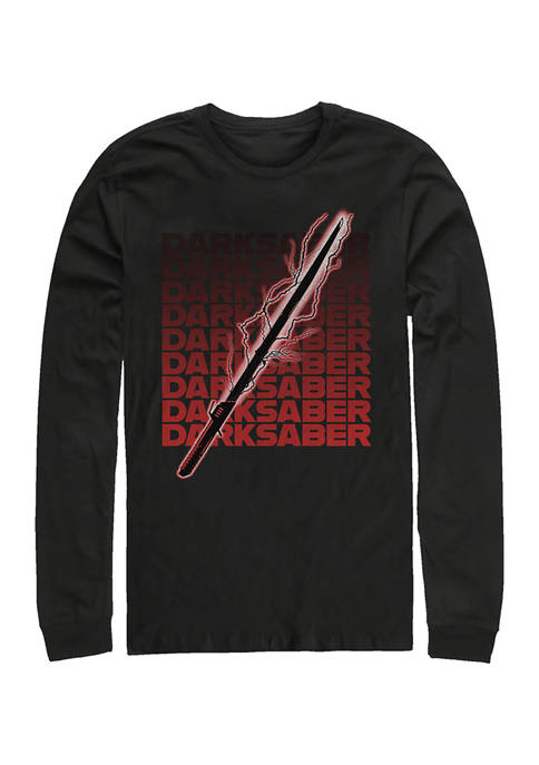 Darksaber Text Long Sleeve Crew Graphic T-Shirt
