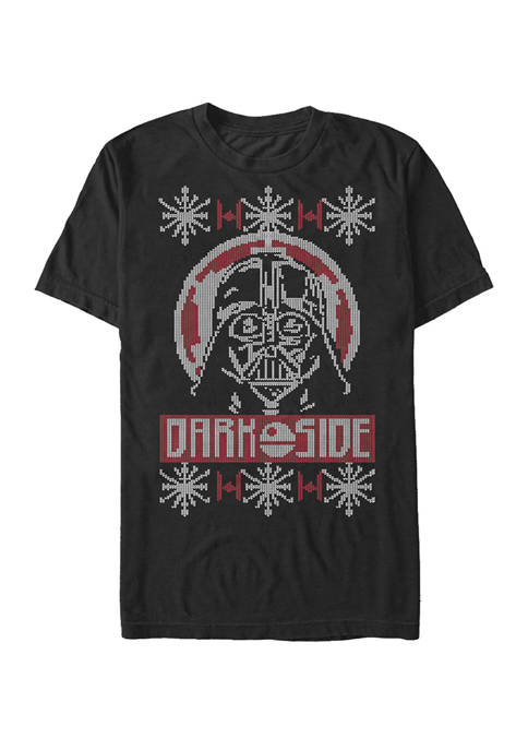 Big & Tall Darth Vader Dark Side Ugly Sweater Short Sleeve T-Shirt