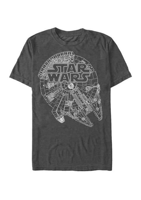 Big & Tall Millennium Falcon Line Art Short Sleeve T-Shirt