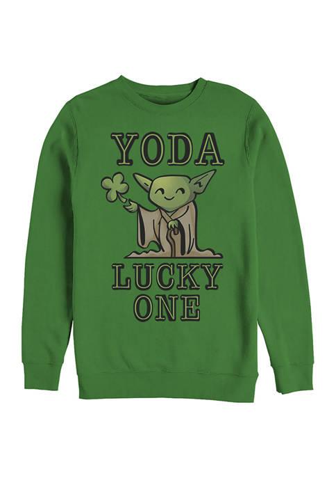 Star Wars Yoda So Lucky Graphic Crew Fleece Sweatshirt