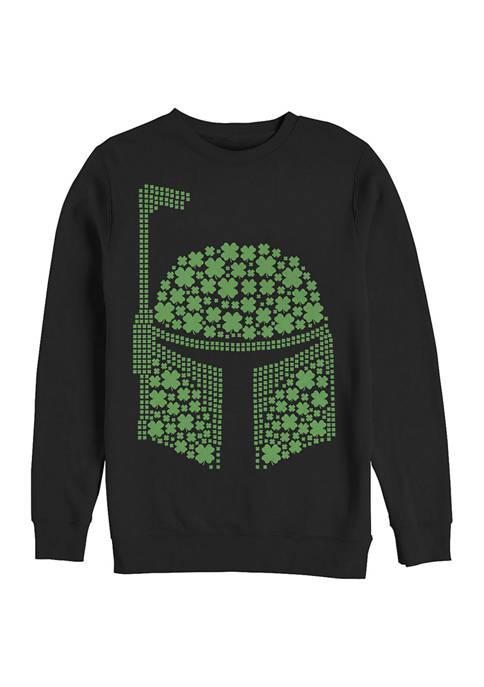 Juniors Boba Clovers Graphic Crew Fleece Sweater