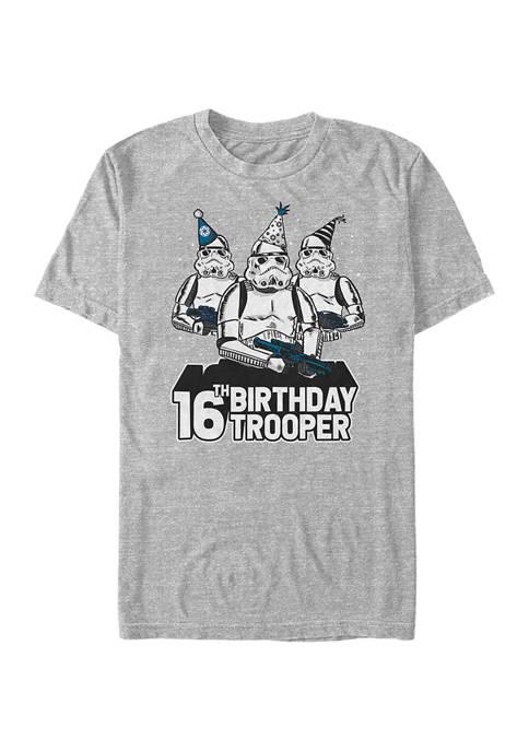 Birthday Trooper Sixteenth Graphic Short Sleeve T-Shirt
