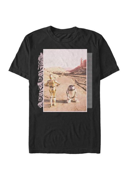Big & Tall R2-D2 C-3PO Desert Walk Poster Short Sleeve T-Shirt
