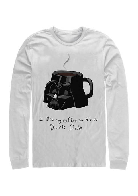 Coffee On The Dark Side Long Sleeve Crew Graphic T-Shirt