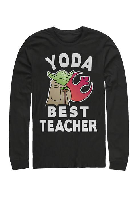 Yoda Teacher Long Sleeve Crew Graphic T-Shirt