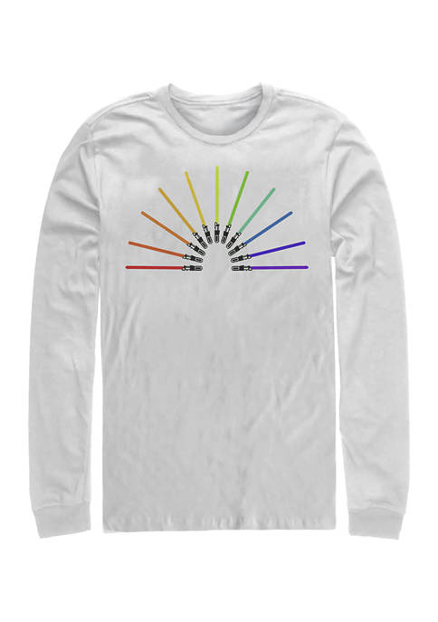 Sabor Rainbow Long Sleeve Crew Graphic T-Shirt