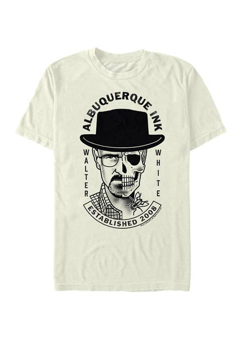 Albuquerque Ink Walter White Skull Face Split Short Sleeve T-Shirt