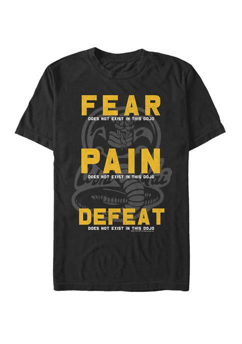 Cobra Kai Fear Pain Defeat Motto Short Sleeve