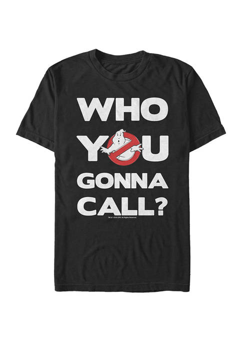 Big & Tall Classic Who You Gonna Call Text Short Sleeve T-Shirt