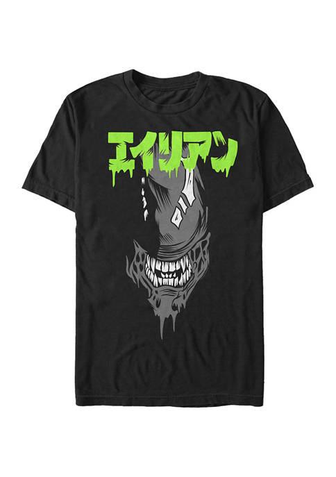 Alien Big Face Kanji Graphic T-Shirt