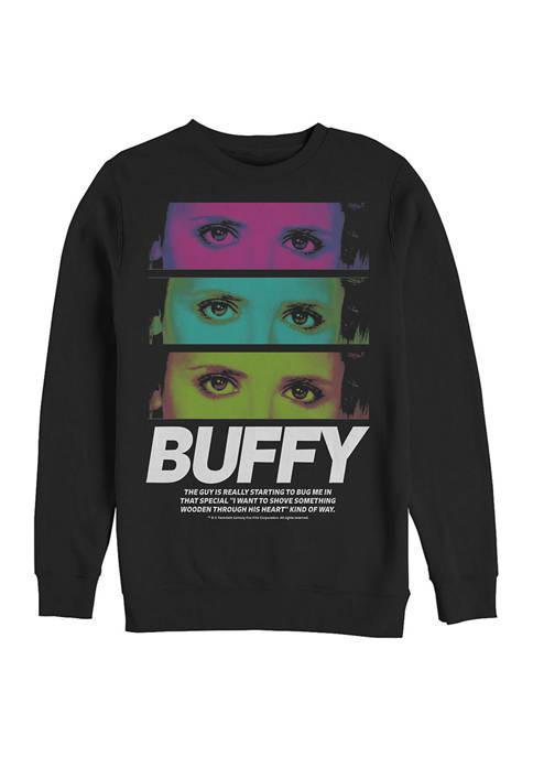 Buffy the Vampire Slayer Buffy Stack Crew Fleece Graphic Sweatshirt