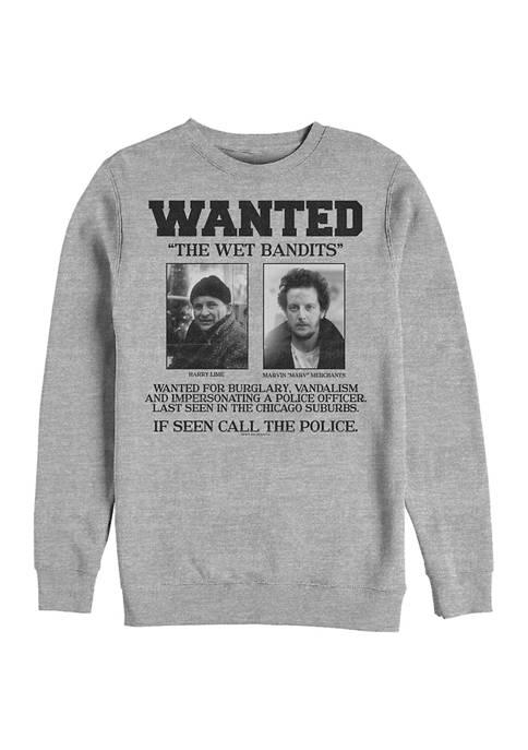 Home Alone Wet Bandits Wanted Poster Crew Fleece Graphic Sweatshirt