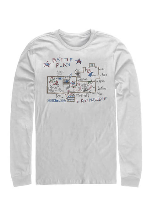 Home Alone Kevins Plan Long Sleeve Crew Graphic T-Shirt