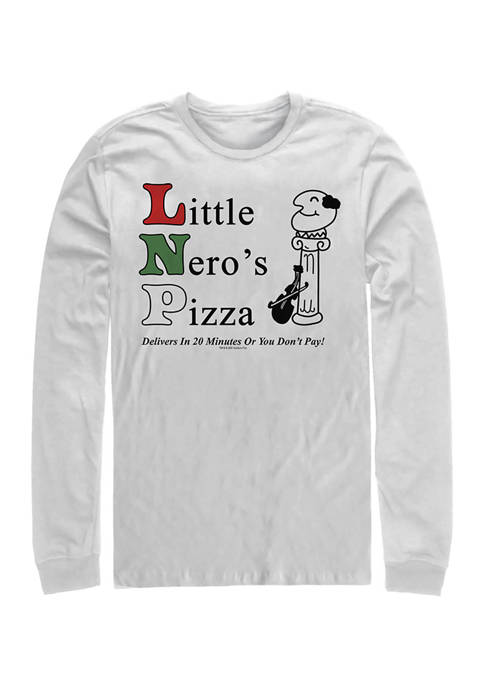 Home Alone Little Neros Pizza Long Sleeve Crew Graphic T-Shirt