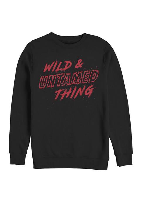Rocky Horror Picture Show Wild Untamed Text Crew Fleece Graphic Sweatshirt