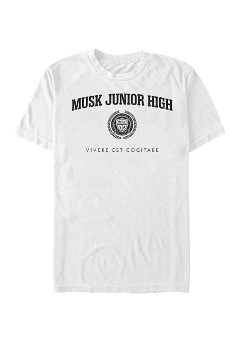 Musk Junior High Black Crest Graphic T-Shirt