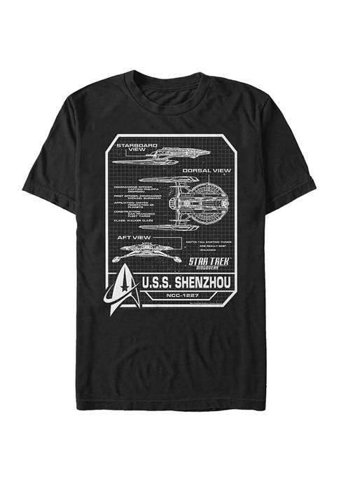 STAR TREK USS Shenzhou Schematic Graphic T-Shirt